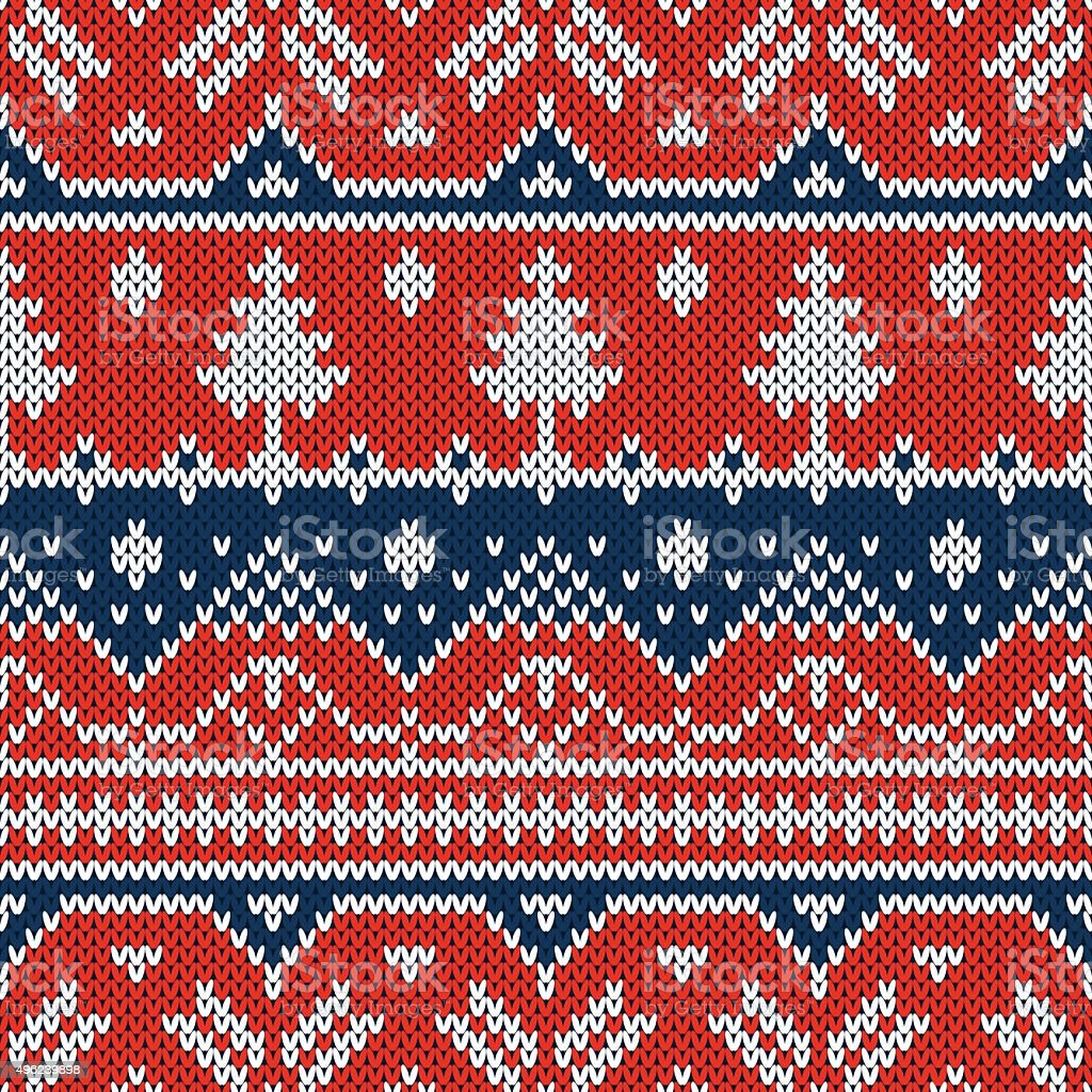 Vector seamless ornament on the knitted texture vector art illustration