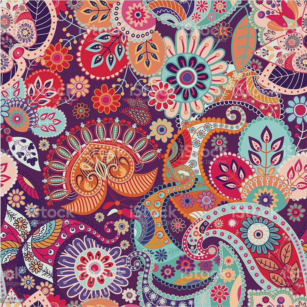 Vector seamless paisley pattern vector art illustration