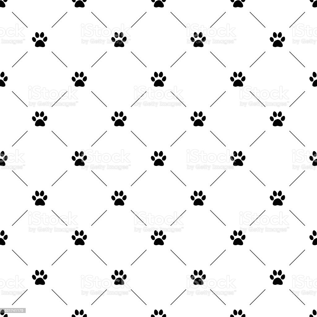 Vector seamless pattern, cat paw vector art illustration