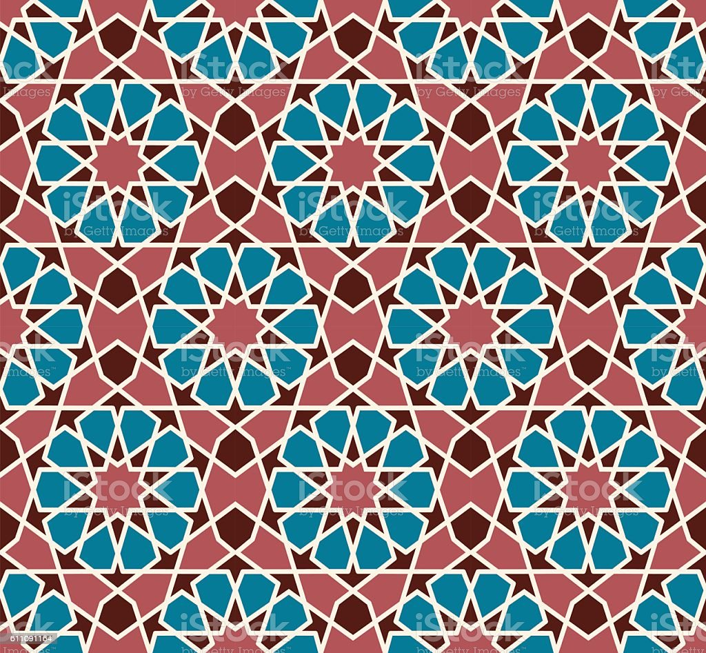 Vector seamless pattern. Colorful ethnic ornament. Arabesque style. Islamic art. vector art illustration