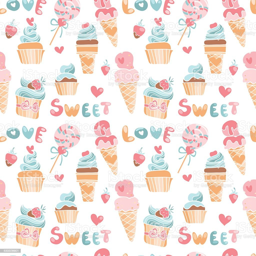 Vector seamless pattern in doodle style with sweets and hearts vector art illustration
