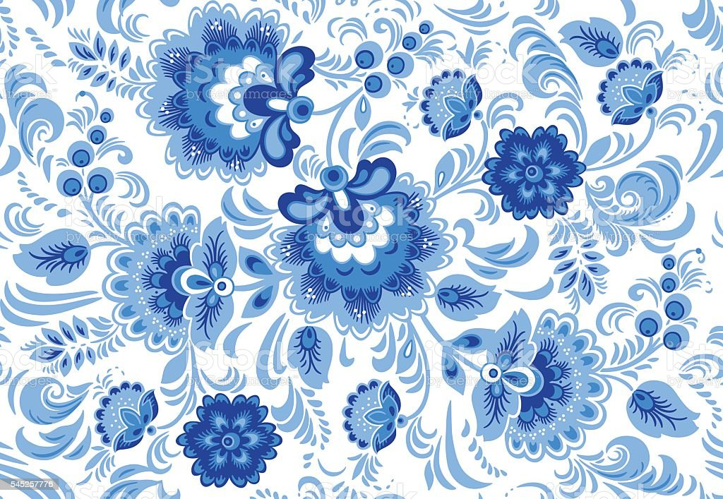 Vector seamless pattern in traditional russian gzhel style vector art illustration