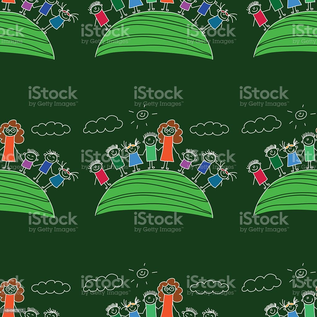 Vector Seamless Pattern Kids School And Education stock vector art ...