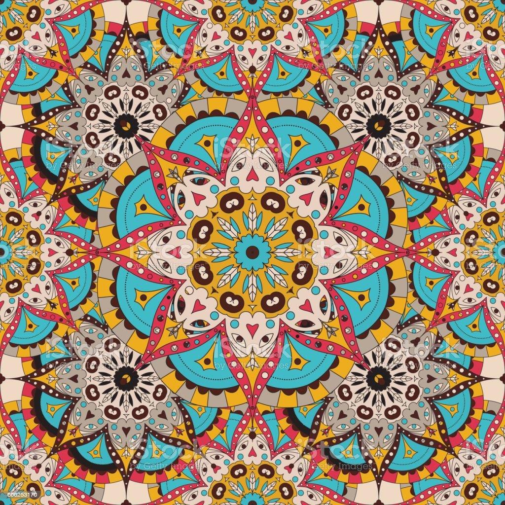 Vector seamless pattern. national decorative element for fabric ot design. Islam, Arabic motifs. Oriental colorful mandala vector art illustration