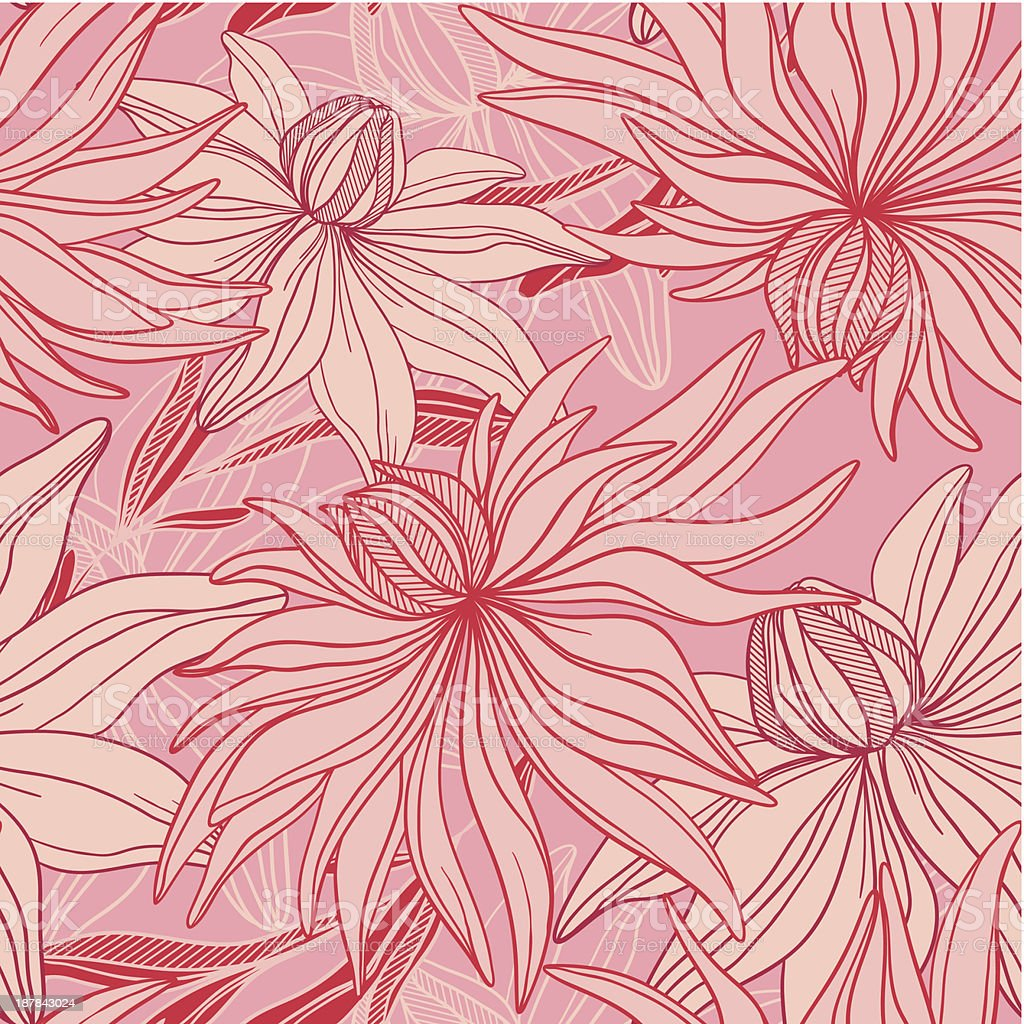 vector seamless pattern of abstract flowers royalty-free stock vector art