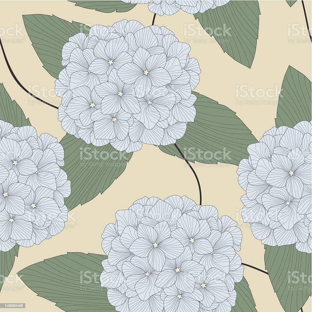 Vector Seamless Pattern of Blue Hydrangeas royalty-free stock vector art