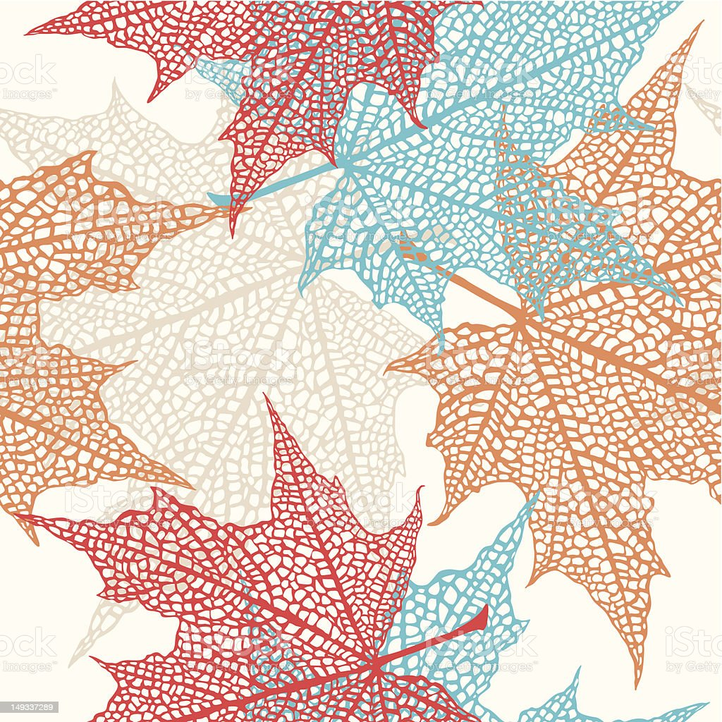 Vector Seamless Pattern of Colored Maple Leaves royalty-free stock vector art