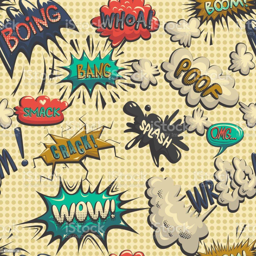 Vector seamless pattern of comic speech bubble vector art illustration
