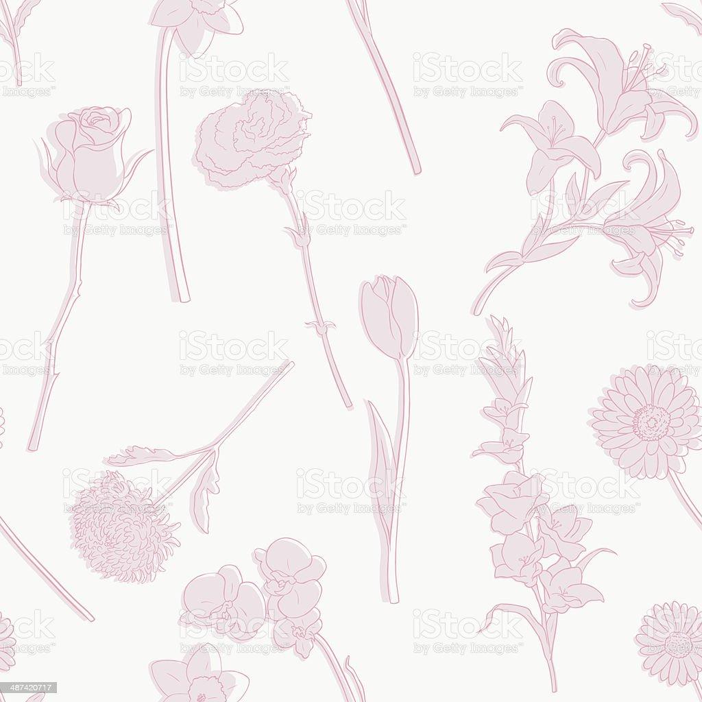 Vector Seamless Pattern of Flowers vector art illustration