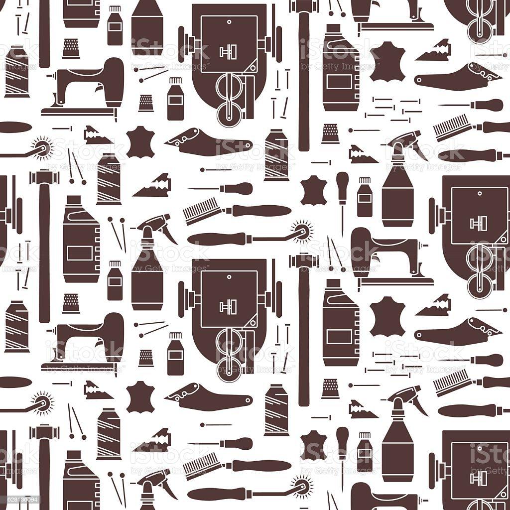 Vector seamless pattern of furrier tools. Print on white backgro vector art illustration