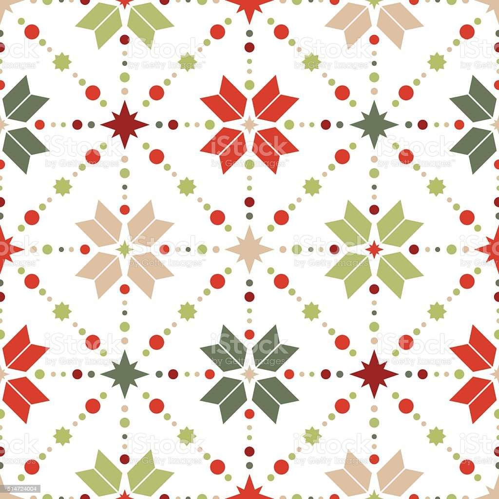 Vector seamless pattern of geometric snowflakes. vector art illustration