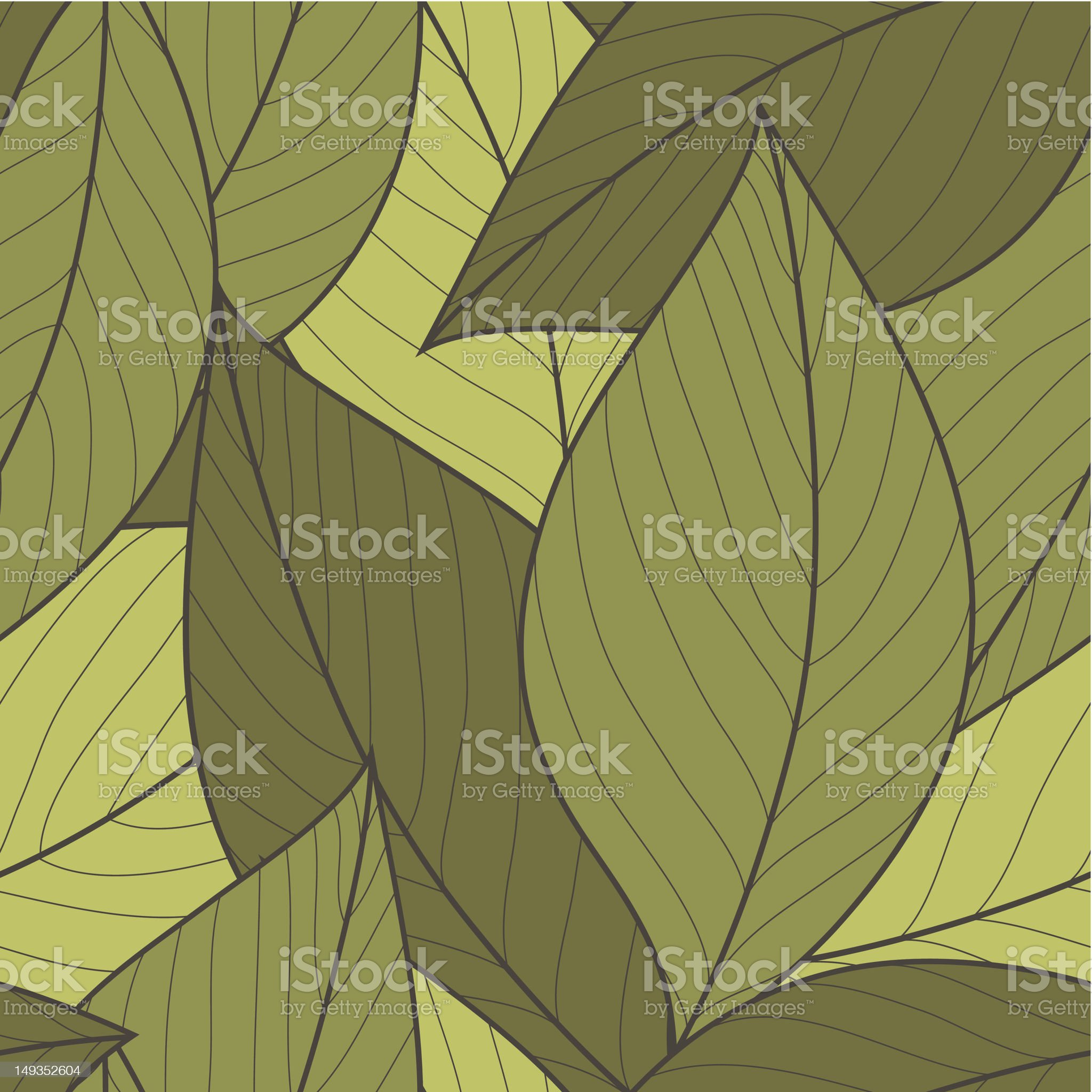 Vector Seamless Pattern of Green Leaves royalty-free stock vector art