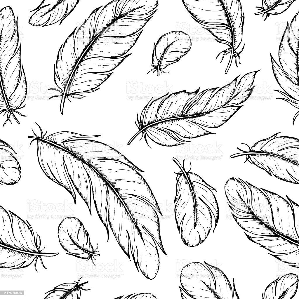 Vector seamless pattern of hand drawn feather. Ink feather vinta vector art illustration