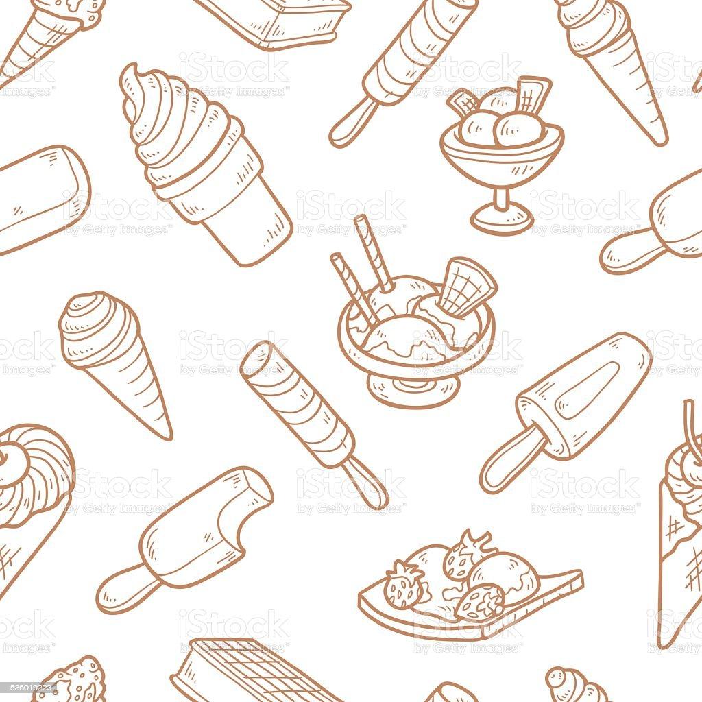 Vector seamless pattern of ice cream vector art illustration
