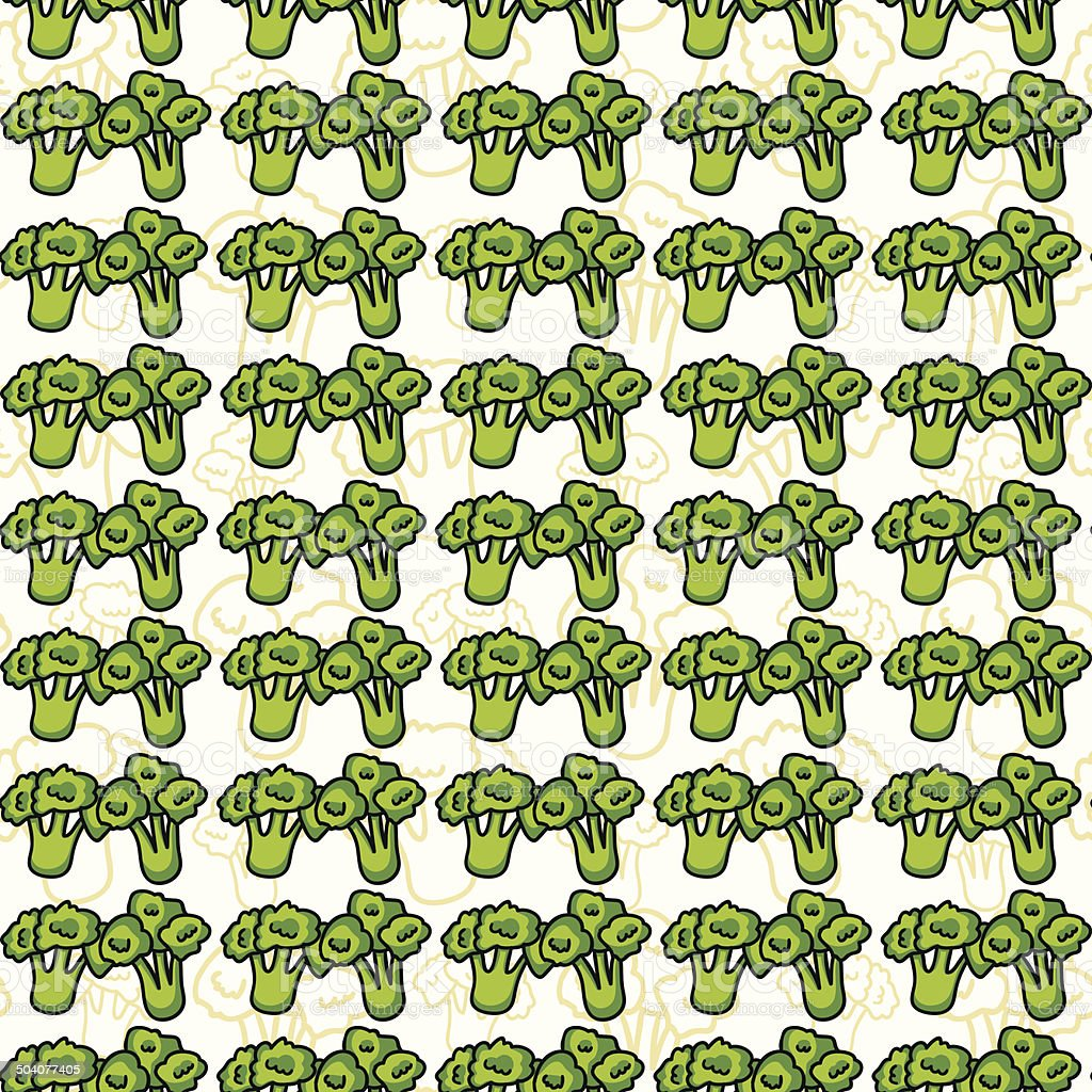 Vector seamless pattern of sketch broccoli. Illustration. Beautiful background. royalty-free stock vector art