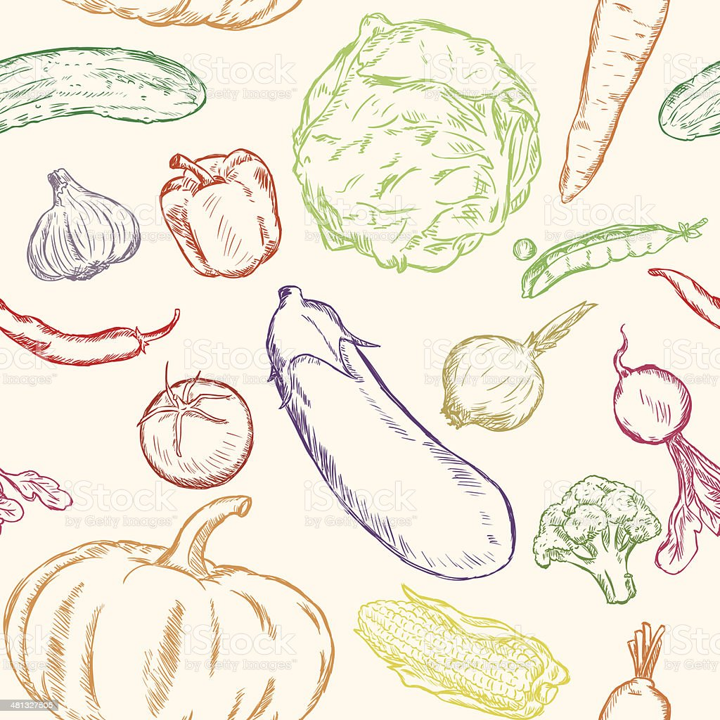 Vector Seamless Pattern of Sketch Vegetables royalty-free stock vector art
