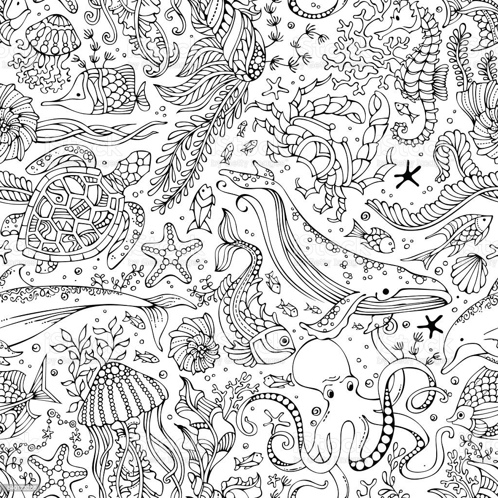 Vector seamless pattern of underwater wild animals and plants. vector art illustration