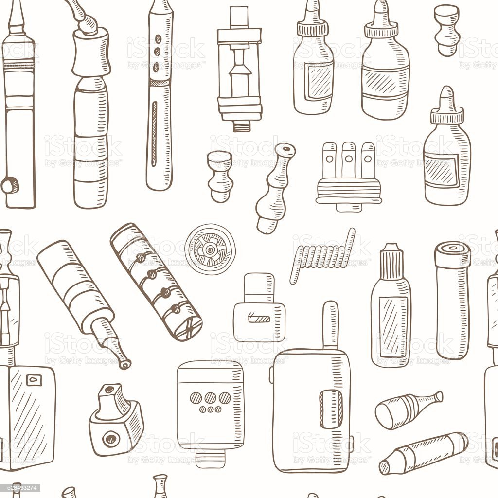 Vector seamless pattern of vape icons vector art illustration