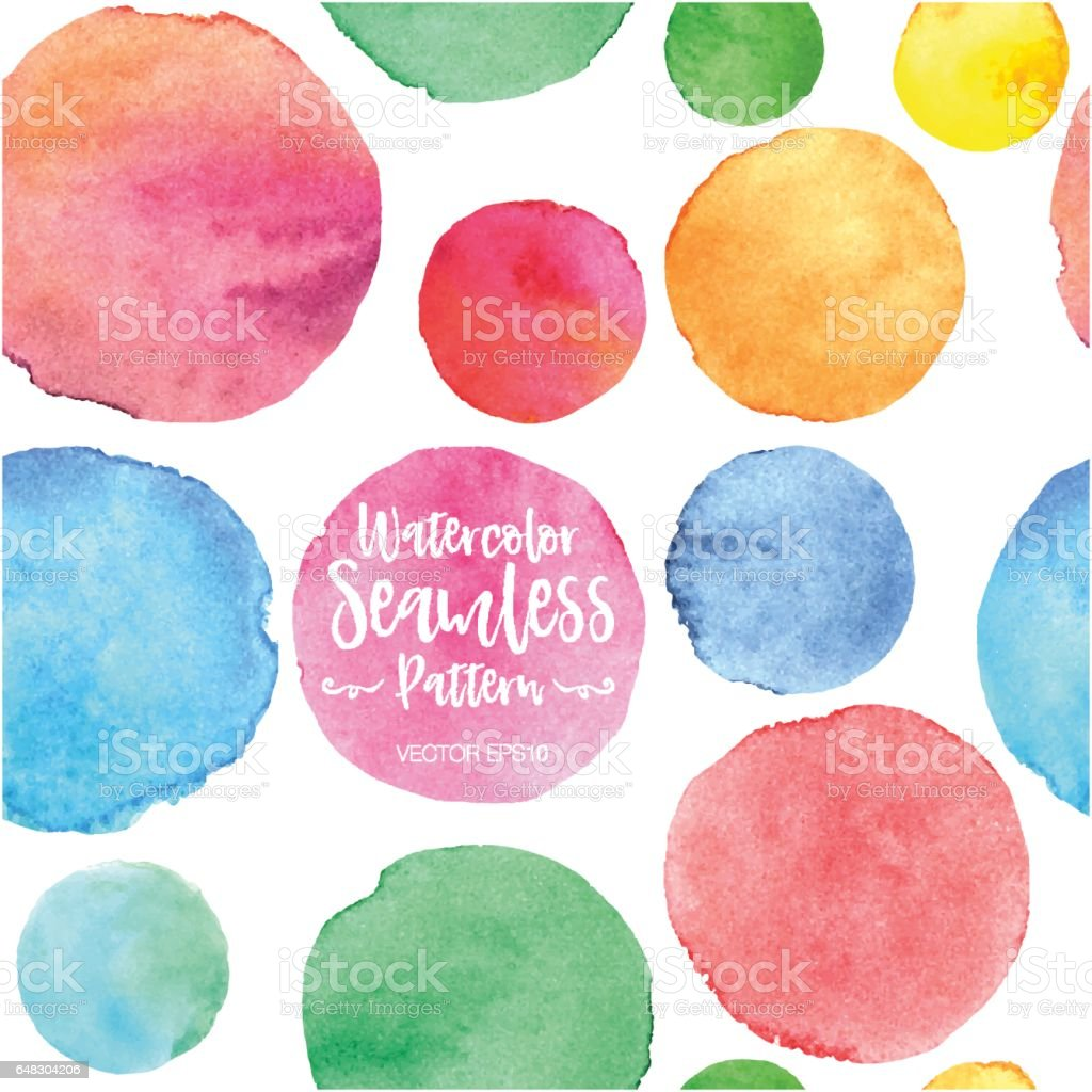 Vector Seamless Pattern of Watercolor Splotches vector art illustration