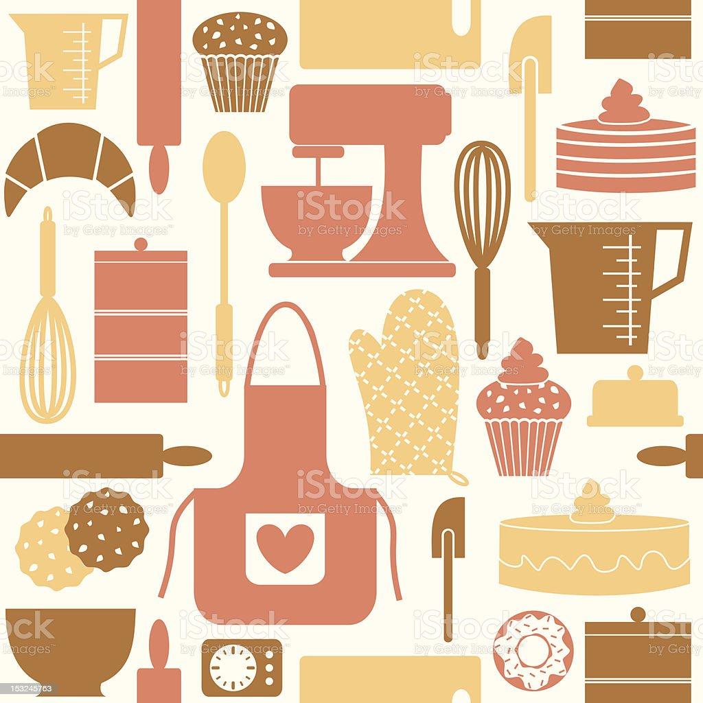 Vector seamless pattern retro kitchen gadgets royalty-free stock vector art
