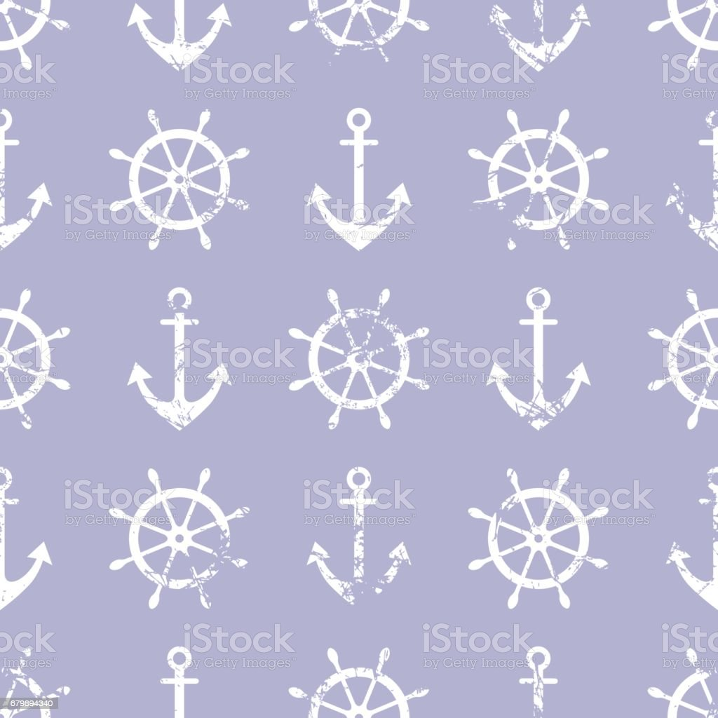 Vector seamless pattern. Steering wheel, life preserver, anchor. Creative geometric blue grunge background, nautical theme. Texture with cracks, ambrosia, scratches, attrition. Graphic illustration. vector art illustration