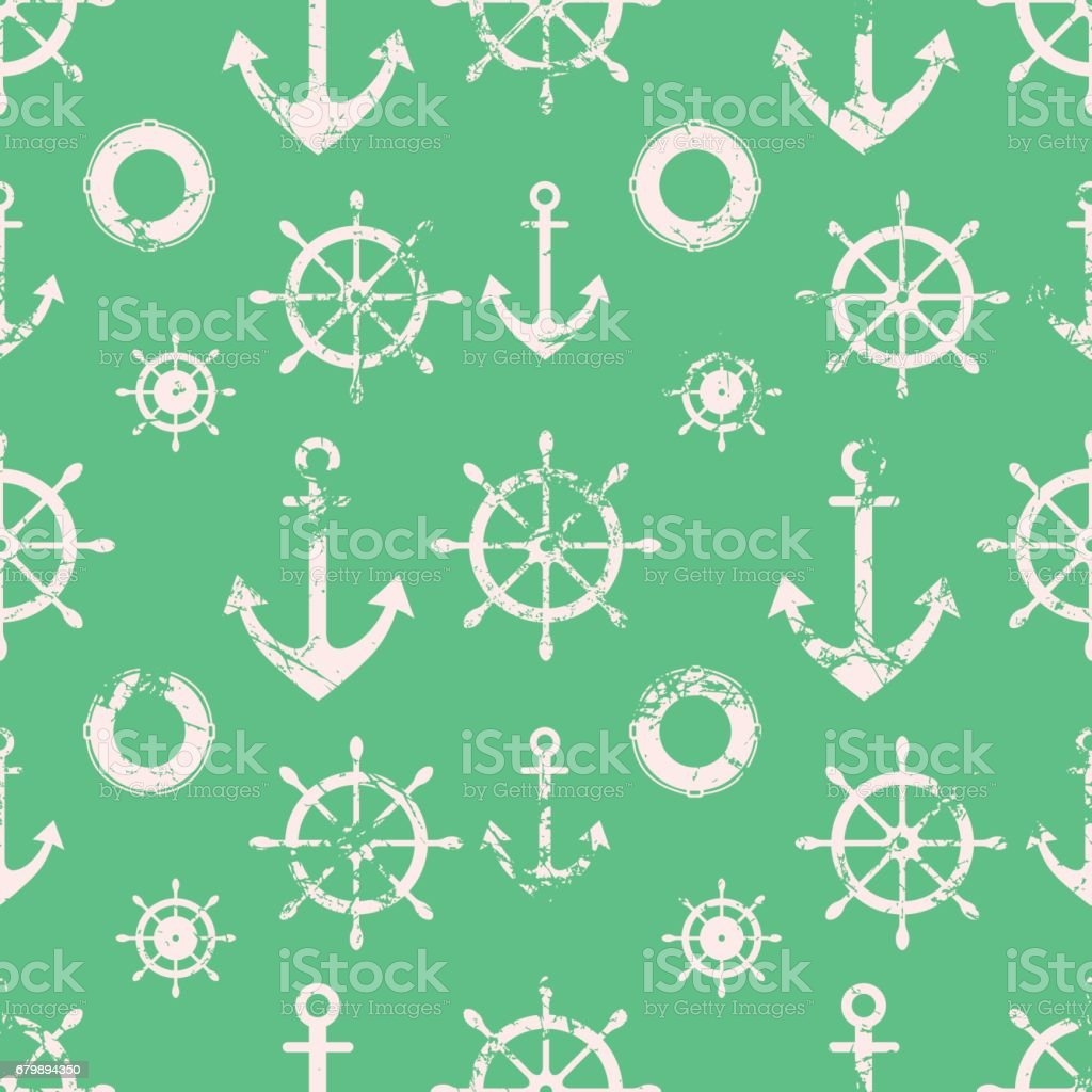 Vector seamless pattern. Steering wheel, life preserver, anchor. Creative geometric green grunge background, nautical theme.Texture with cracks, ambrosia, scratches, attrition. Graphic illustration. vector art illustration