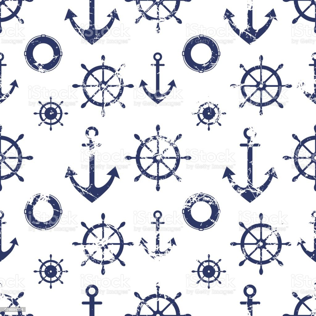 Vector seamless pattern. Steering wheel, life preserver, anchor. Creative geometric grunge background, nautical theme. Texture with cracks, ambrosia, scratches, attrition. Graphic illustration. vector art illustration