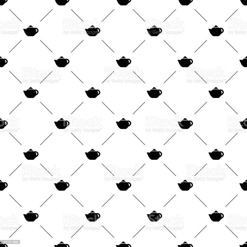 Vector seamless pattern, teapot vector art illustration