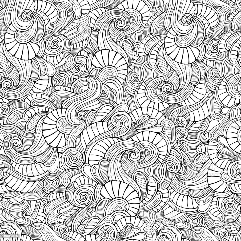 Vector seamless pattern waves and curls vector art illustration