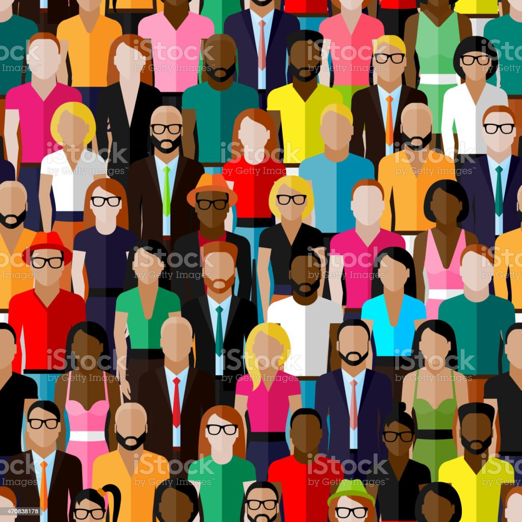 vector seamless pattern with a group of men and women. vector art illustration