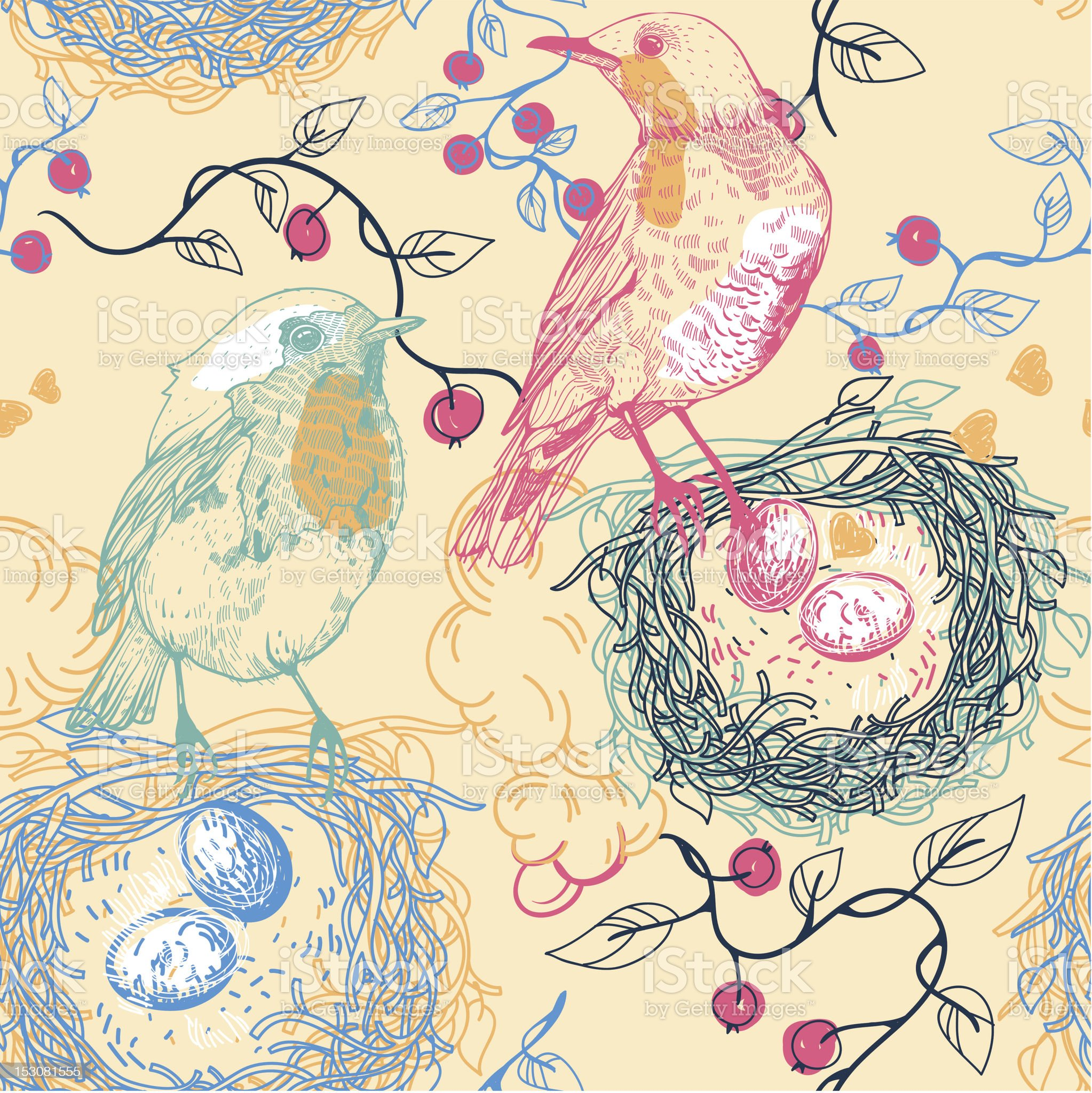 vector seamless pattern with birds and nests royalty-free stock vector art