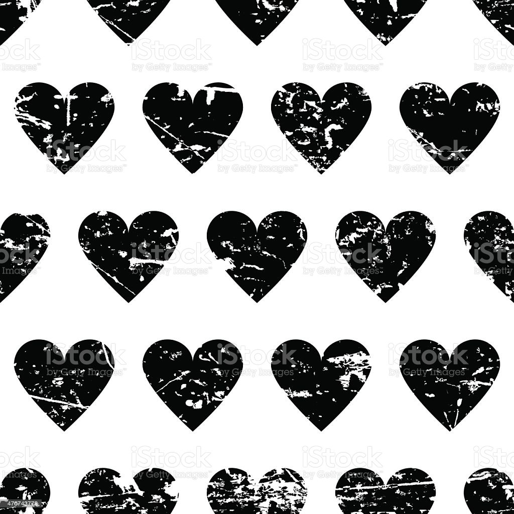 Vector seamless pattern with black hearts background. Abstract grunge texture. vector art illustration