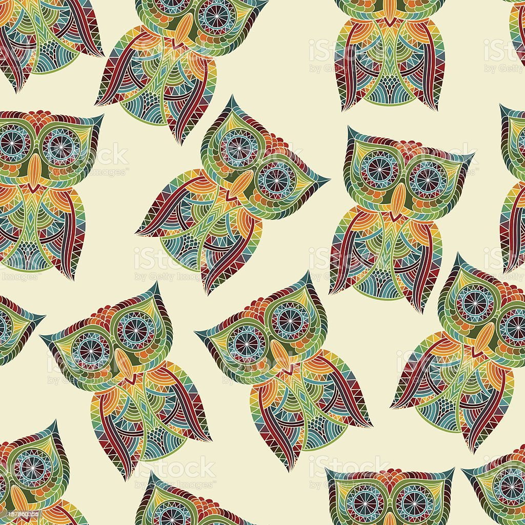 Vector Seamless Pattern with Bright Owls vector art illustration