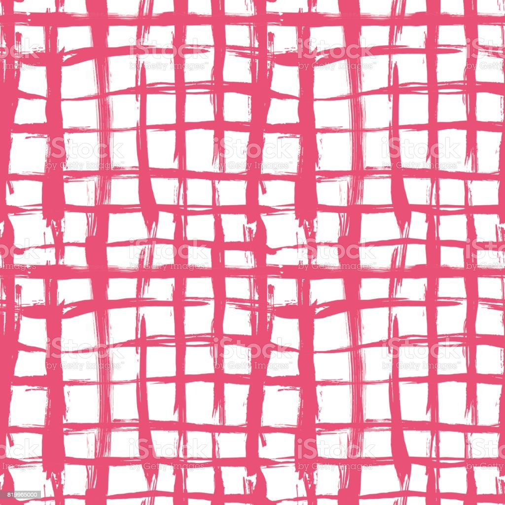 Vector seamless pattern with brush cross and strokes. Pink color on white background. Hand painted grange texture. Ink geometric elements. Fashion modern style. Endless fabric print. School and summer vector art illustration