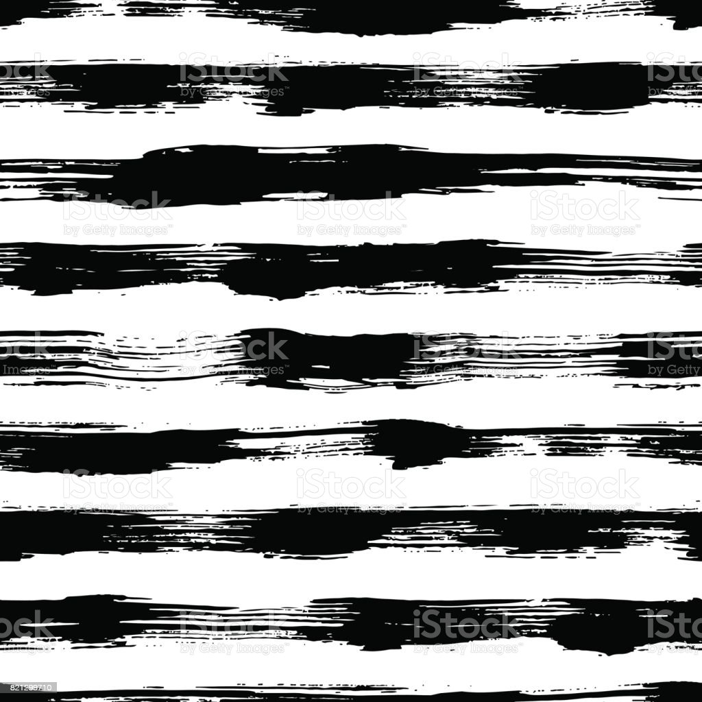 Vector seamless pattern with brush stripes and strokes. Black color on white background. Hand painted grange texture. Ink geometric elements. Fashion modern style. Endless trend fabric print. Unusual vector art illustration