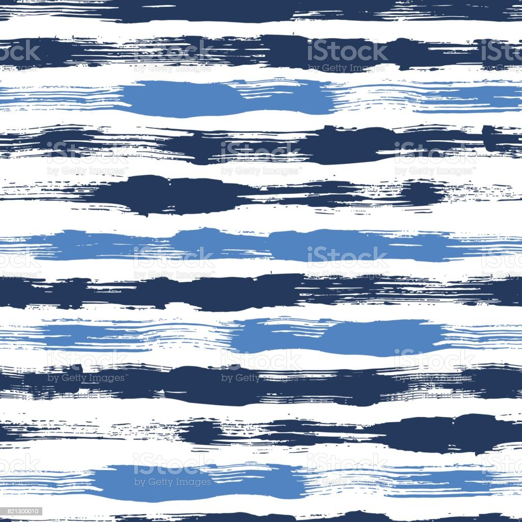 Vector seamless pattern with brush stripes and strokes. Blue color on white background. Hand painted grange texture. Ink geometric elements. Fashion modern style. Endless trend fabric print. Unusual vector art illustration