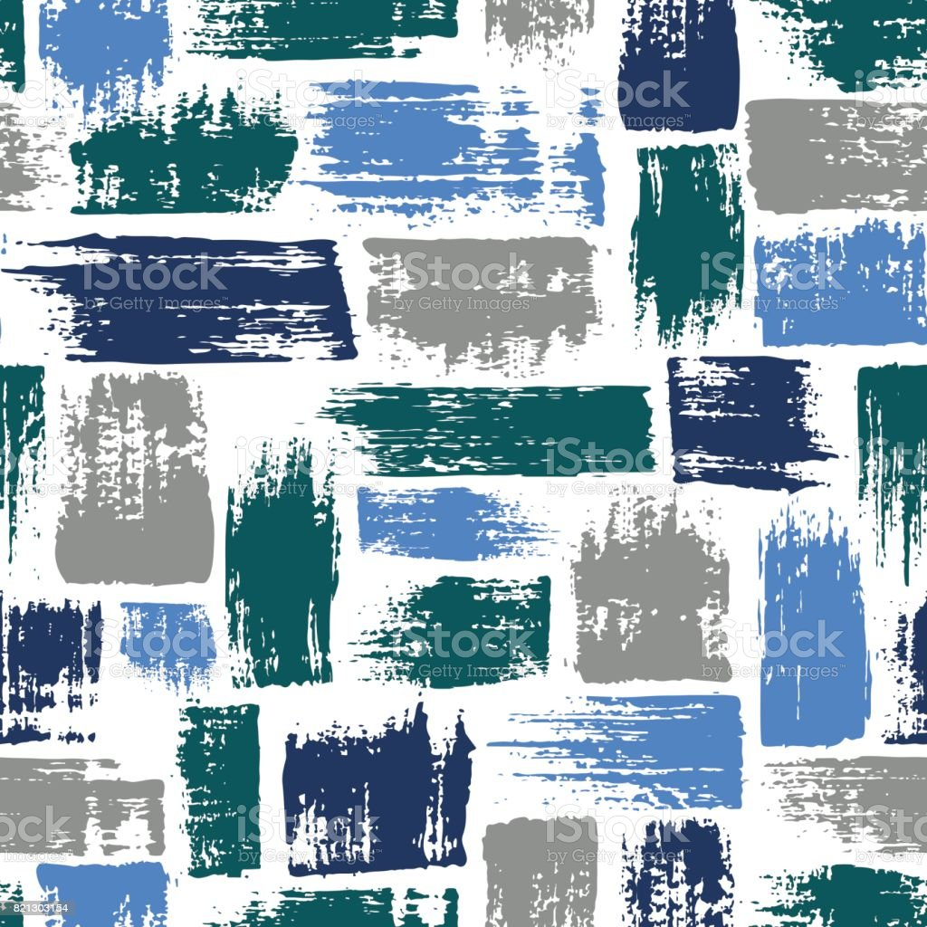 Vector seamless pattern with brush stripes and strokes. Blue color on white background. Hand painted grange texture. Ink geometric elements. Fashion modern style. Endless fabric unusual print. vector art illustration