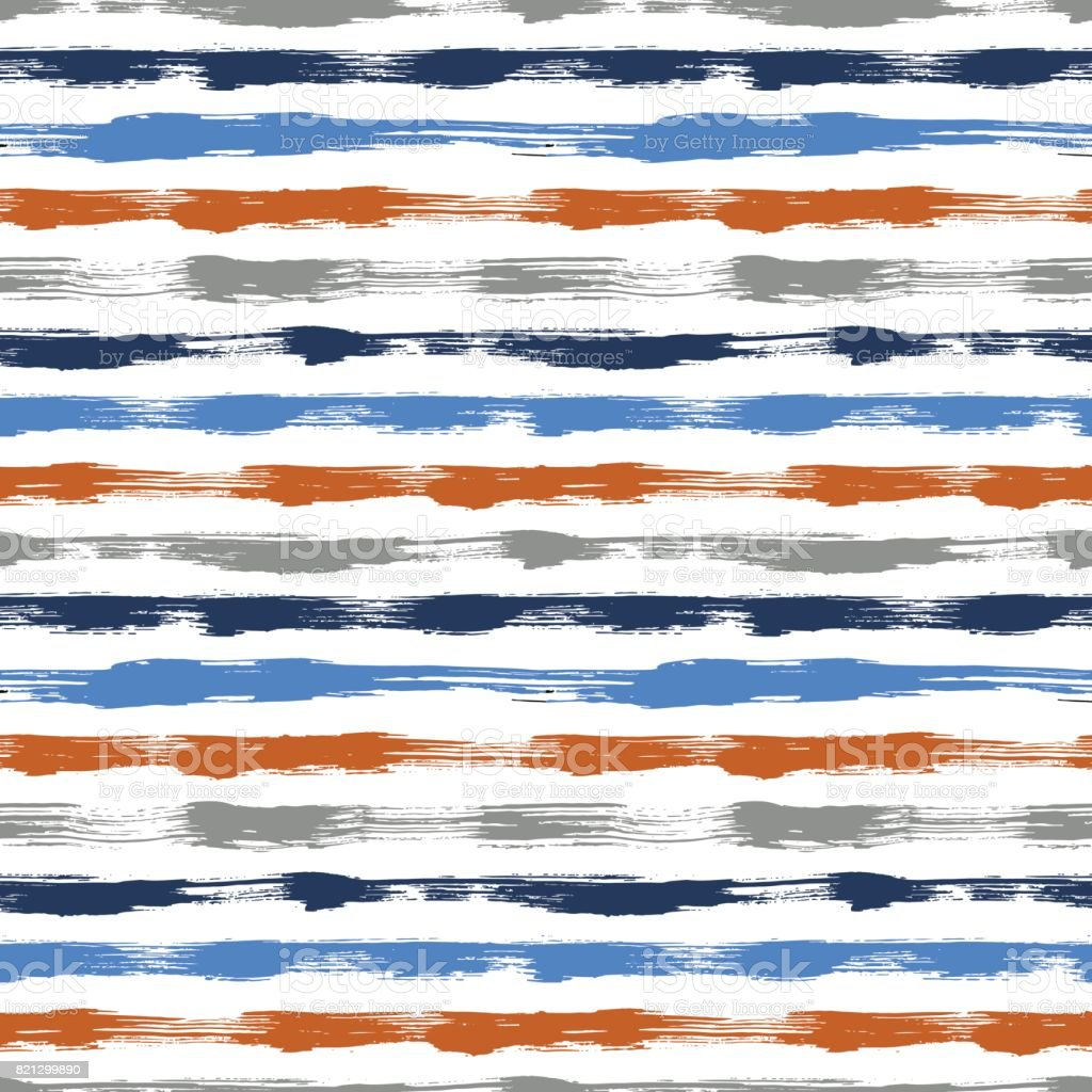 Vector seamless pattern with brush stripes and strokes. Blue orange color on white background. Hand painted grange texture. Ink geometric elements. Fashion modern style. Endless trend fabric print. vector art illustration