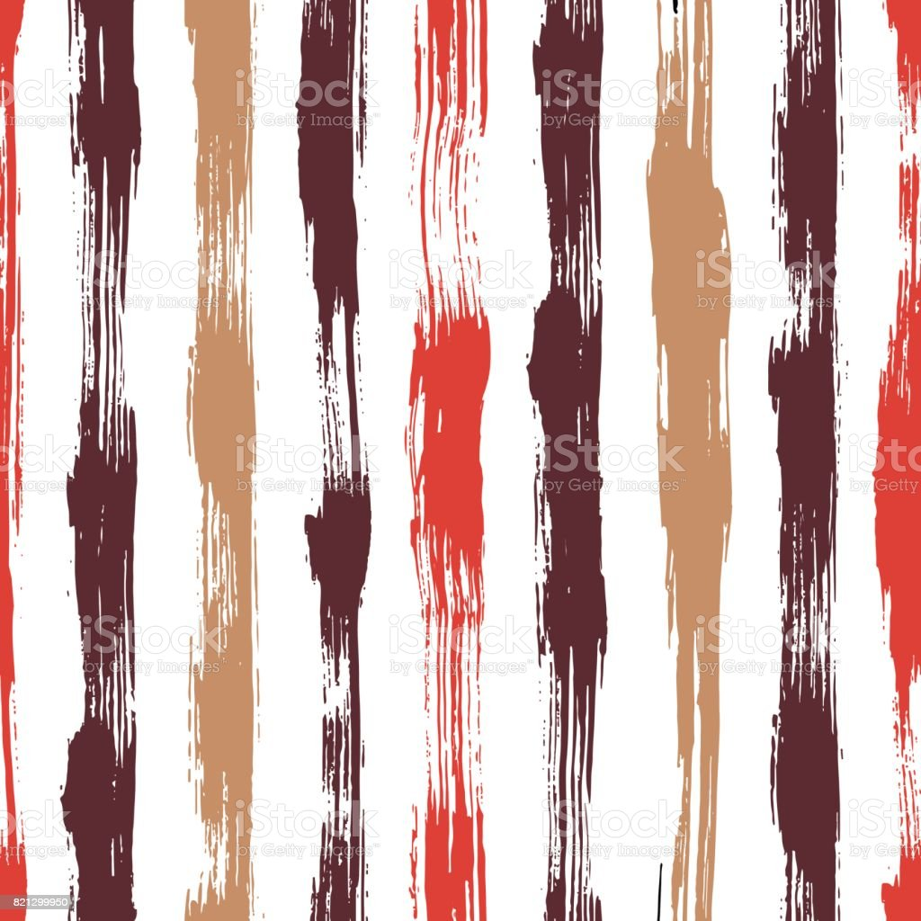 Vector seamless pattern with brush stripes and strokes. Red pink color on white background. Hand painted grange texture. Ink geometric elements. Fashion modern style. Endless trend print. Unusual vector art illustration