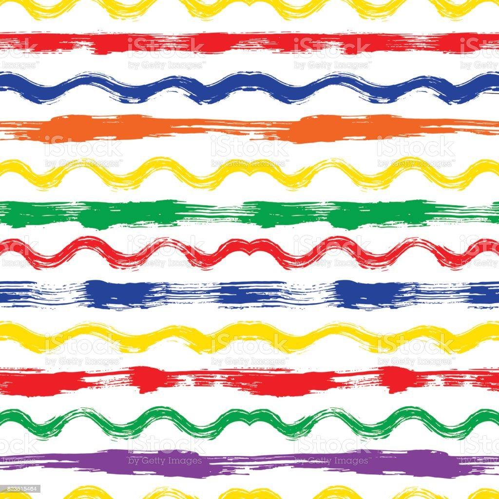 Vector seamless pattern with brush stripes and waves. Rainbow color on white background. Hand painted grange texture. Ink geometric elements. Fashion modern style. Endless fabric print. Retro vector art illustration