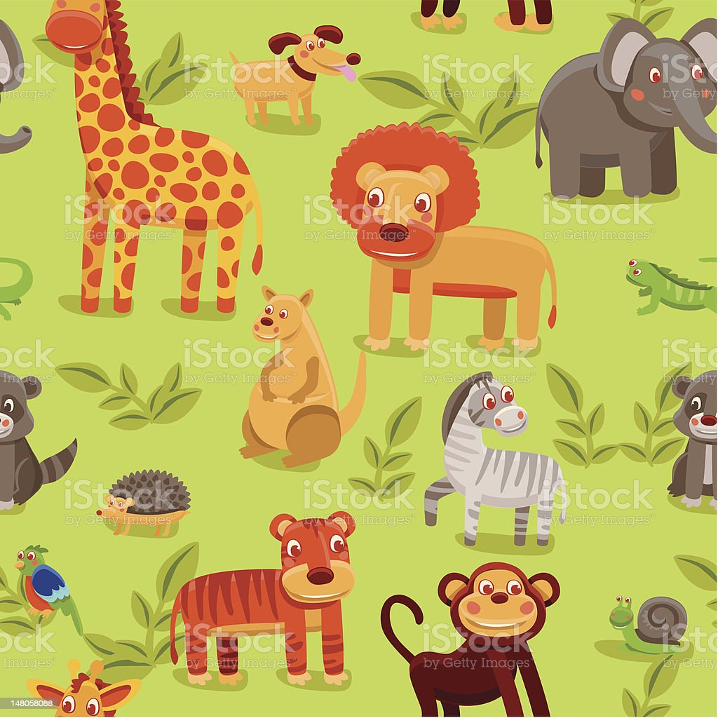 vector seamless pattern with cartoon animals royalty-free stock vector art