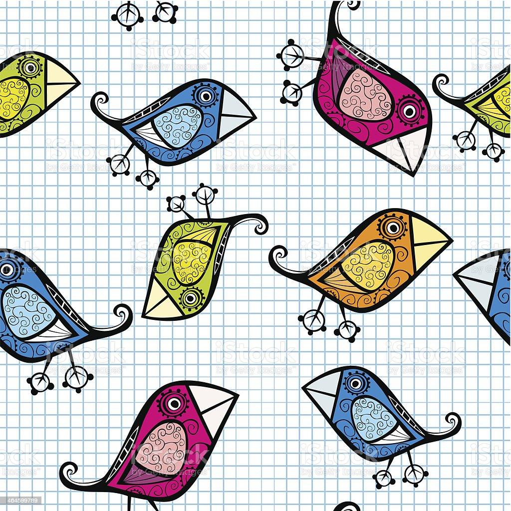 Vector seamless pattern with cartoon birds. vector art illustration