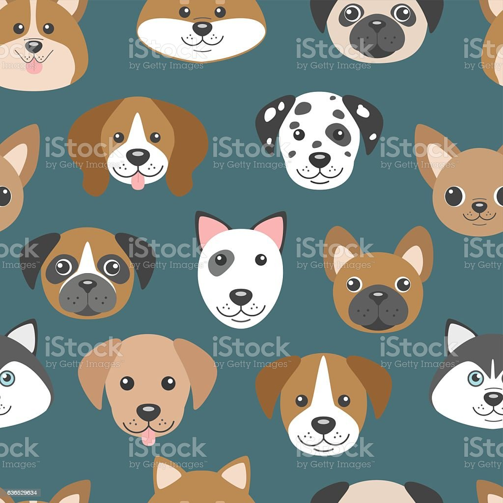 Vector seamless pattern with cute cartoon dog puppies. vector art illustration
