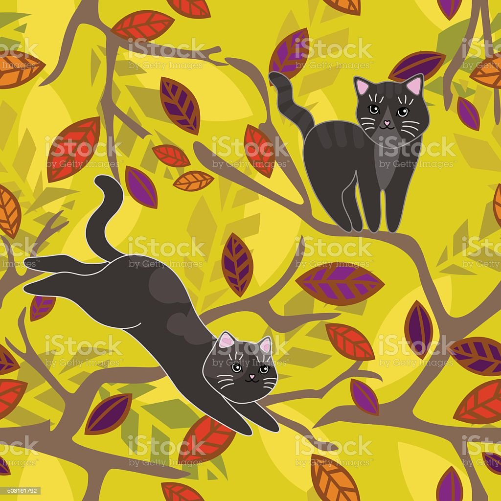 Cat on a branch of a tree. Gray black kittens. Vector seamless...