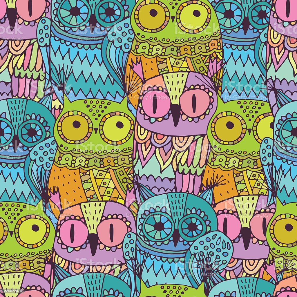 Vector seamless pattern with cute owls royalty-free stock vector art