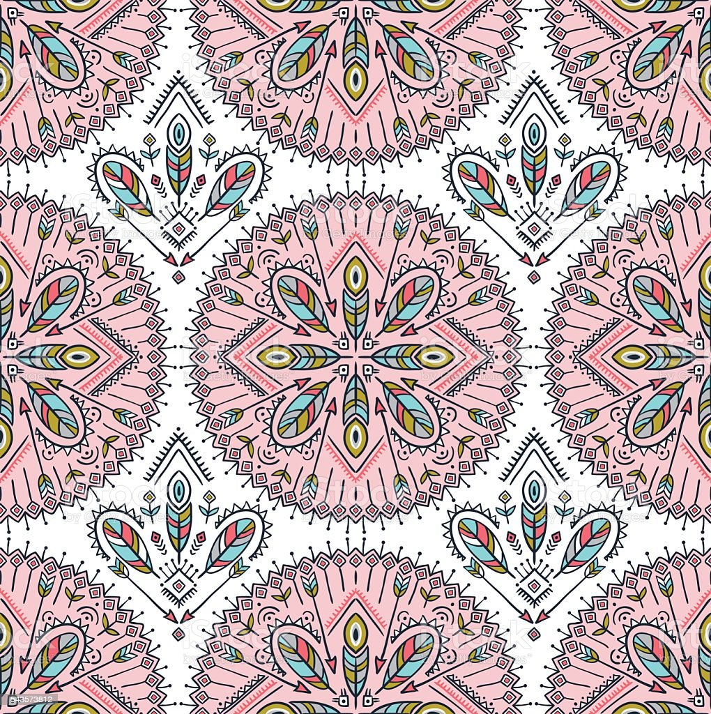 Vector seamless pattern with ethnic arrows, feathers and tribal ornaments. vector art illustration