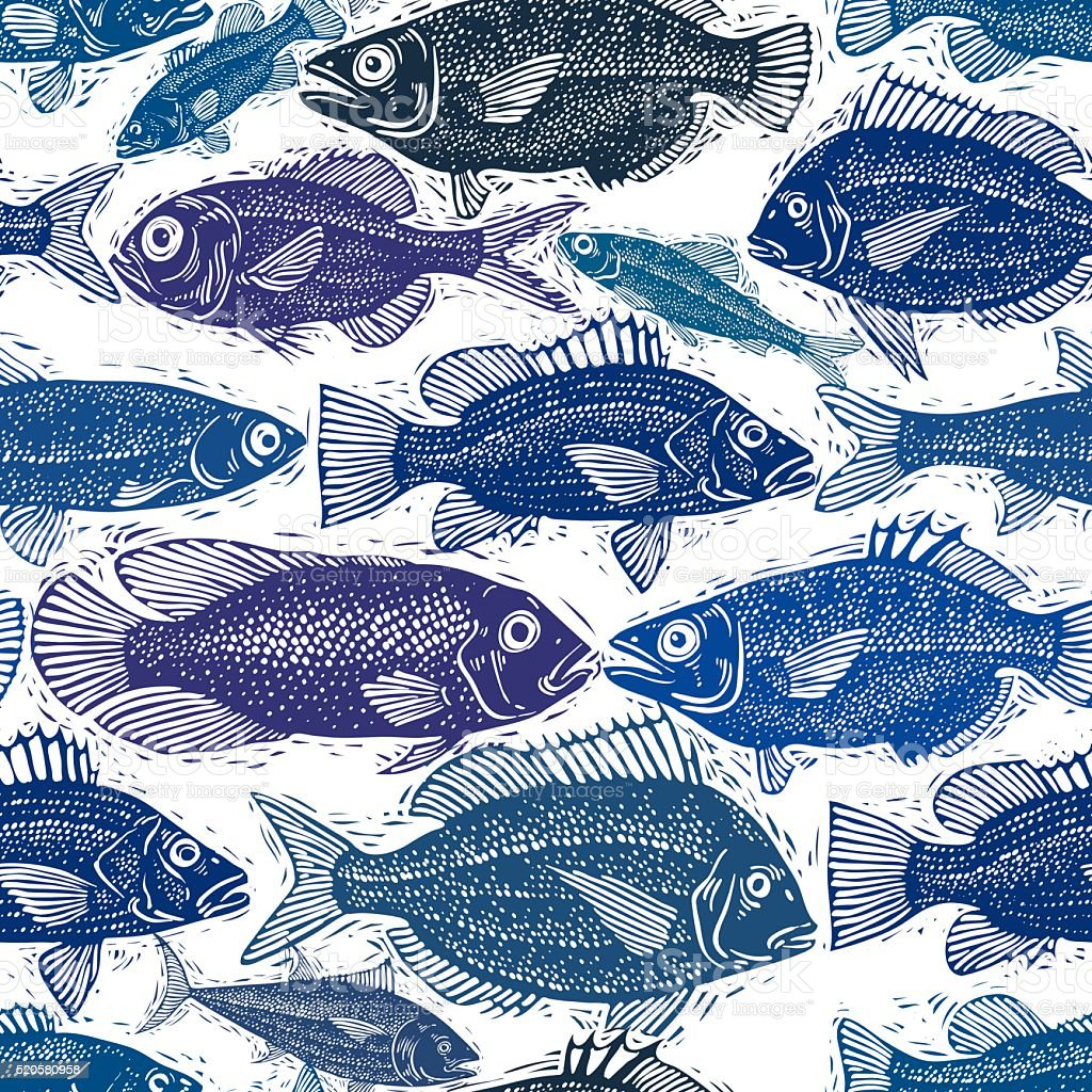 Vector seamless pattern with fishes, different species. Underwater vector art illustration