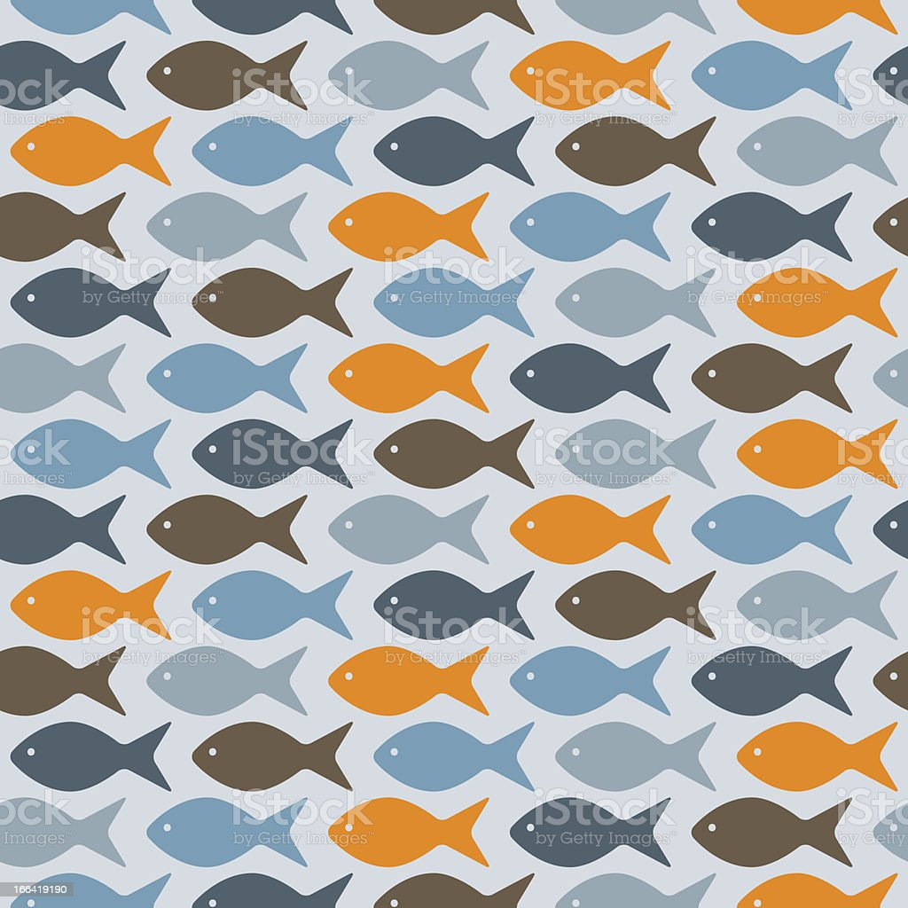 vector seamless pattern with fishes vector art illustration