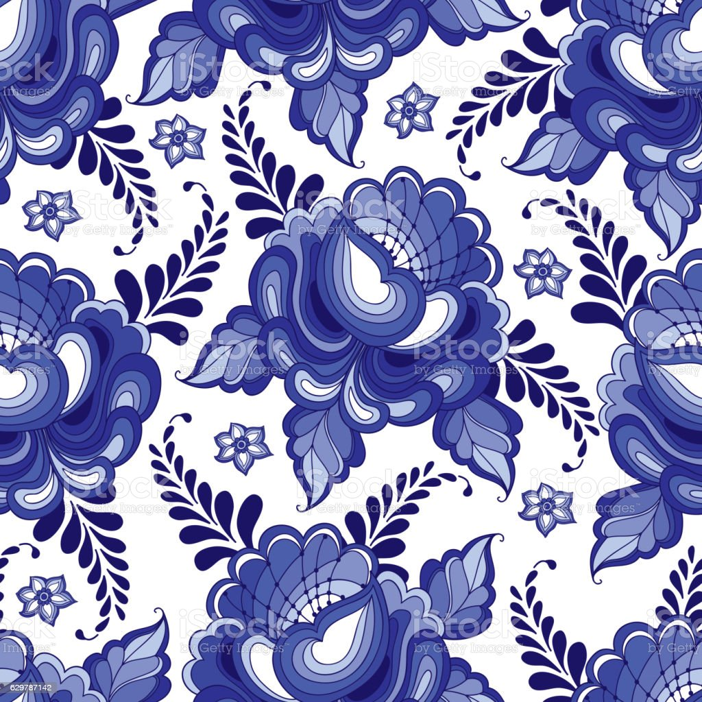 Artistic floral element abstract gzhel folk art blue flowers stock - Vector Seamless Pattern With Flowers In Traditional Russian Style Gzhel Royalty Free Stock Vector