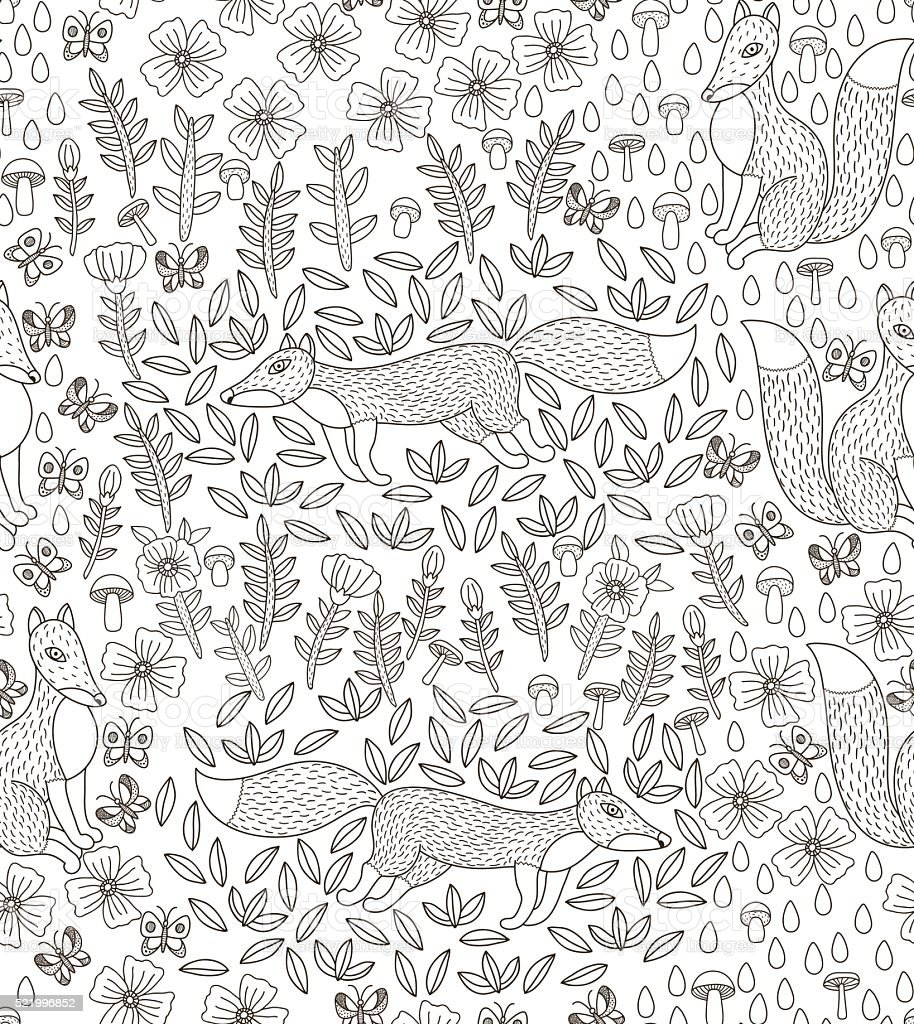 vector seamless pattern with foxes vector art illustration